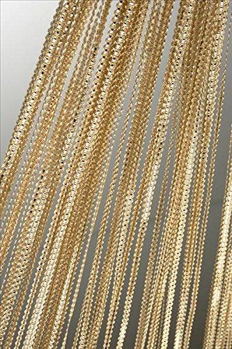 Tenda a fili tenda a fili con Lurex serigrafica 90x 250cm o 140x 250cm colore a scelta tenda per porta # 253, Poliestere, oro, 140 x 250 cm
