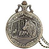 Big Wolf - Reloj de bolsillo para hombre, diseño de lobo, cuarzo, ideal como regalo para...