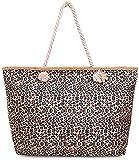 Faera Strandtasche Leoparden-Muster XXL Shopper Beach Bag mit breiter Kordel Schultertasche, Taschen...