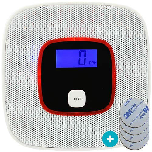 Kohlenmonoxid Warnmelder, CO Melder WP-616 inkl. Klebepad. Intelligent mit LCD Anzeige. Langzeit Melder und intelligente Sprachansage bei hoher Kohlenmonoxid Konzentration. (Weiß) -