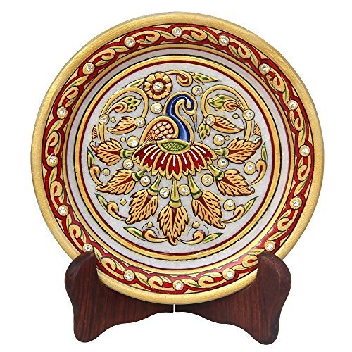 Handicrafts Paradise Peacock with Feathers Spread Pattern Round Shape Marble Showpiece Plate...