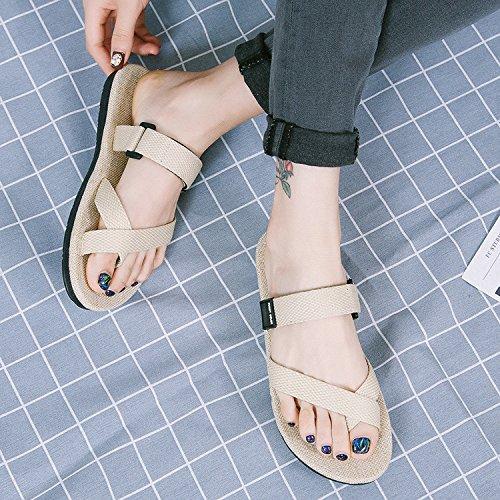Xing Lin Sandales de chaussures homme, été de marée, et lin lin nouveau Rice white