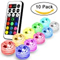 Submersible Led Lights Flameless LED Tea Lights Candles,Multi Color Option Battery-Powered,Multi Color Bulb Light with Remote Control,Perfect for Weddings Christmas Thanksgiving Holiday Party Lighting Strobe, Set of 10(RGB) from ANYG Co.,Ltd