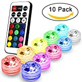 Submersible Led Lights Flameless LED Tea Lights Candles,Multi Color Option Battery-Powered,Multi Color Bulb Light with Remote Control,Perfect for Weddings Christmas Thanksgiving Holiday Party Lighting Strobe, Set of 10(RGB)