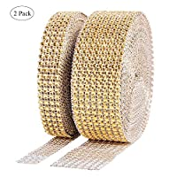 Winko 1 Roll 4 Row 10 Yard and 1 Roll 8 Row 10 Yard Acrylic Rhinestone Diamond Ribbon for Wedding Cakes, Birthday Decorations, Baby Shower Events, Arts and Crafts Projects (2 Rolls, Gold)