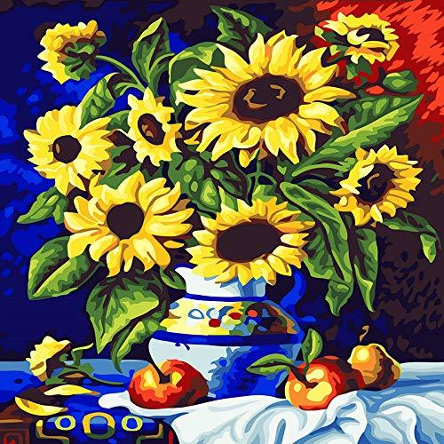 zlhcich Landschaft Blume Mond Ölgemälde sonnige Vase 40 * 50 Rahmen -
