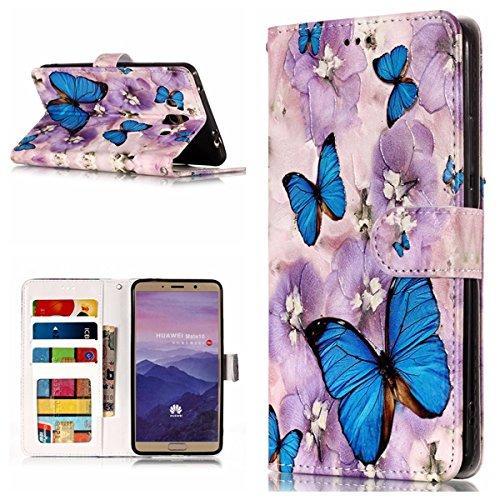 Cozy Hut Huawei Mate 10 Hülle,Huawei Mate 10 Leder Wallet Tasche Brieftasche Schutzhülle, 3D Schmetterling Muster PU Lederhülle Flip Hülle im Bookstyle Cover Schale Stand Ständer Etui Kart