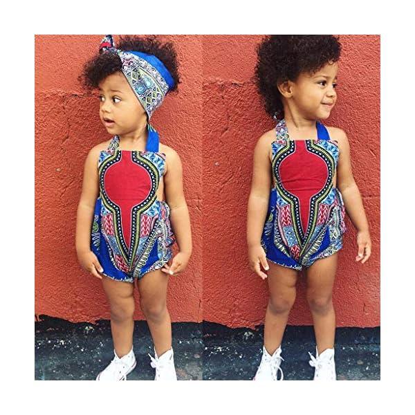 HEETEY Pijama para niña, para niños pequeños, con Estampado Africano, sin Mangas, con Cinta para el Pelo, Ropa para… 2