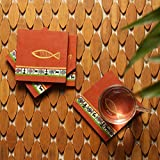 ExclusiveLane 'The Auspicious Fish' Warli Hand-Painted Wooden Coasters In Brick Red (Set Of 4) -Coasters For Dining Table Coasters Set For Office Drink Wooden Tea Coasters Set Bar Accessories Tableware