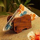 ExclusiveLane 'Elephants' Trunk Down' Hand Carved Napkin Holder In Sheesham Wood - Napkin Holders For Dining Table Kitchen Napkin Box Napkin Holder Restaurant Tissue Holder For Table