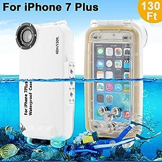Unterwasser Fall Underwater case For iPhone 7 Plus AIGUMI 40M Diving Case Tauchen Wasserdichte Telefon Tasche IPX8 wasserdichtes Gehäuse mit 32mm Gewinde(Weiß, IP7S)