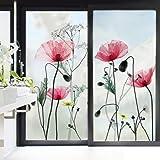 decalmile Stickers Muraux Fleurs de Pavot Film Fenêtre Fleurs Autocollant Mural Film Vitre Salle de Bain Salon Chambre Bureau