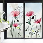 decalmile Poppies Flower Wall Decals Plants Wall Stickers Living Room Bedroom TV Wall Art Decor