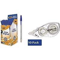 Bic Cristal Original Punta Media 1 mm Confezione 50 Penne Colore Blu & Amazon Basics - Correttore a nastro, 4,2 mm x 10…