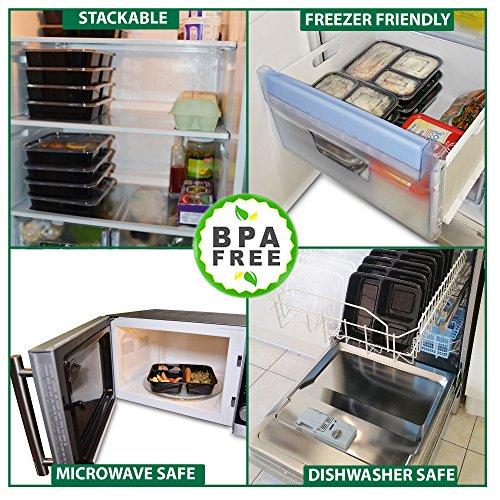 |10 pack| 3 fach Meal Prep Container. Frischhaltedosen Bento-Box Set mit Deckel. Spülmaschine, Mikrowelle, Gefrierschrank safe. BPA-frei Frishchalteboxen aus Kunststoff mit Trennwände [1L] - 5