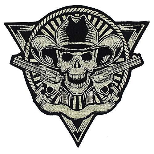EMDOMO Stickerei-Aufnäher Totenkopf Pistolen Abzeichen Aufbügeln Aufkleber Punk Jacke Rückseite Patches Basteln Nähzubehör 1 Stück (Patches Rücken Punk)