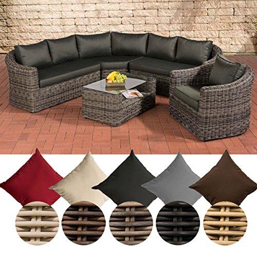 CLP Poly-Rattan Loungemöbel Set COSTA RICA, Sofalandschaft + Sessel + Glastisch, 6 Sitzplätze Bezugfarbe: Anthrazit, Rattanfarbe: Graumeliert