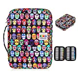 BTSKY Grande capacité de 220 crayons de couleur - Trousse étanche à motif dessin animé pour étudiant avec poignée portable, sac de rangement pour dessin, peinture et papeterie (masque)