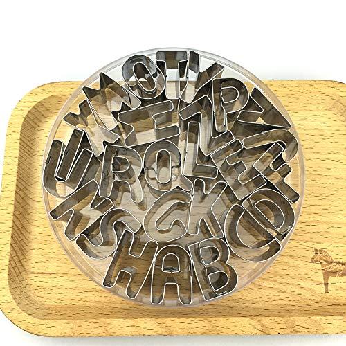 MAIZOU Edelstahl Alphabet Kuchen Alphabet Buchstaben Fondant Kuchen Dekorieren Cookie Keks Ausstecher Form Set Für Küche-26 stücke (Buchstaben)