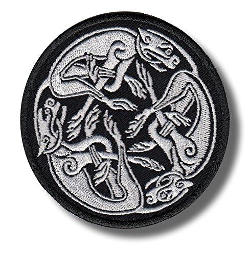 Lebrel celta nudo blanco-bordado parche, 8x 8cm