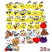 * Il pacchetto incluso 38 pezzi tutti diversi portachiavi emoticon whatsapp. * Contiene: smile sorriso, risata, diavolo, scimmia, cacca, bacio, cuore, occhiali, e altro emoticon peluche divertente. * Il diametro circa 5.5 cm. * Spessore: circ...