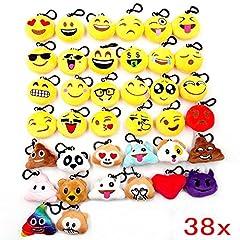 Idea Regalo - JZK 38 Piccoli giochi giocattoli peluche 5cm mini emoji portachiavi emoticon whatsapp regalo compleanno Natale bomboniera festa bambini adulti