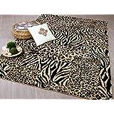 Designer Teppich Suite Leopard Zebra Beige in 5 Größen