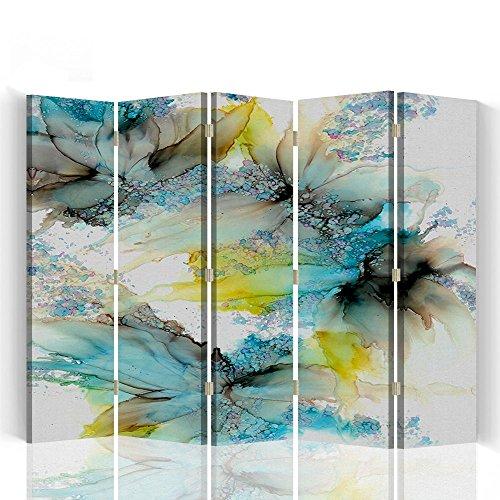 Feeby - Raumteiler - Trennwände - Foto Paravent - Spanische Wand - Bedruckt aufLeinwand - Trennwand - Deko Design - Paravent beidseitig - 5 teilig - 360° - 180x150 cm - Bloomnjazz - Farbe Abstrakt Blau Braun Gelb