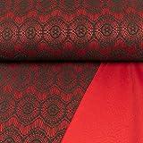 Allroundstoff Modestoffe aufgesetzte Spitze rot
