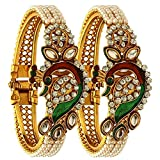 Efulgenz Indian Bollywood Traditional Ethnic Gold Plated Pearl Studded Bracelets Bangle Set Wedding Jewelry for Women