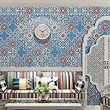 JY ART Fliesen-Aufkleber Mediterraner Stil Küche Wand Fußboden Dekorative Fliesenaufkleber PVC Wasserdicht Selbstklebend Fliesen-Aufkleber Home Moderne Dekoration, 20cm*5m