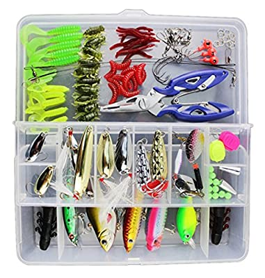 Vicloon 101 PCS Fishing Lures Mixed Including Spinners,VIB,Treble Hooks,Single Hooks,Swivels,Pliers,Leaders by Vicloon
