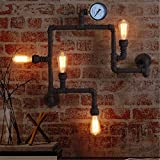 QZX Vintage industriale da parete applique parete lampada luce soppalco in ferro battuto di canalizzazioni di acqua 4 luci con E27 Presa Per Soggiorno Camera da letto decorazione (220V, Lampadine non incluse)
