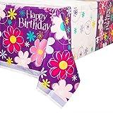 """Unique Birthday Blossom Plastic Table Cover, 84 x 54"""", Purple"""