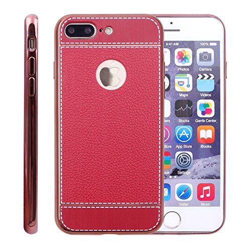 iProtect Coque en TPU pour Apple iPhone 7 Plus et iPhone 8 Plus - Étui à design Business en Beige Rouge