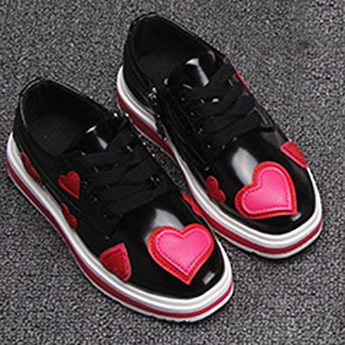 Oasap Girl's Fashion Low Top Lace-up Flat Heart Shoes Black