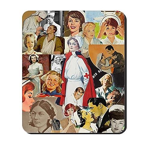 CafePress–Vintage Krankenschwester Collage–Rutschfester Gummi-Mauspad, Gaming Maus Pad (Krankenschwestern Pflege T-shirt)