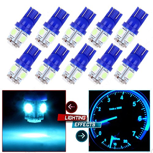 KESOTO 10x Glace T10 Bleu Coin 5050 5SMD W5W 168 194 2825 175 Tableau De Bord A Conduit La Lumière