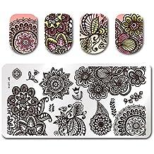 Born Pretty Placas de Sello para Diseño de Uñas Manicura Arte Plantillas de Impresión con Patrones Chic Flower BP-L014 12.5 x 6.5cm
