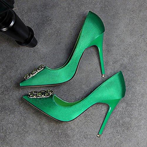 Clips de cristal brillantes para zapatos de mujeres para bodas verde verde Urwkfq2
