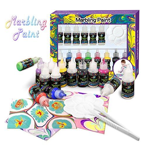 FUNTOK Malset Malenset Zeichenset Malenspielzeugfürkinder handgemachte Marmorierung Tinte Farbe 8 Farben * 20 ml Marmor Set