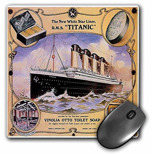3drose 20,3x 20,3x 0,6cm Maus Pad, Vintage White Star Line Titanic Vinolia Otto WC-Seife Werbung Poster (MP 149245_ 1)