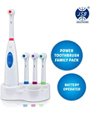 JSB HF27 Family Power Toothbrush with 4 Brush Heads and Storage Stand (Blue-White)