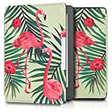 kwmobile Housse élégante en cuir synthétique pour Kobo Aura Edition 2 en Design Flamants roses palmiers rose clair vert vert clair