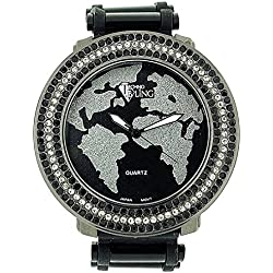 Techno Bling Gents Large Atlas/Map Silver/Black Dial Silicone Strap Dress Watch