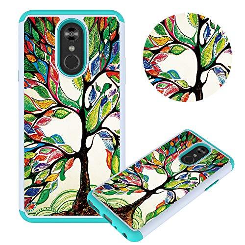 Hülle für LG Stylo 4/Q stylus/Stylus 4,Ölgemälde Baum Muster Weich Silikon TPU + Hart PC Hybrid Double Beidseitiger Stoßfest Handyhülle Kratzfest Rüstung Schutzhülle Lg Combo