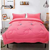 Embroidered Quilt Feather floss filling King Size 200x230 cm,Pink