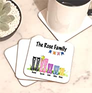 Family Wellington Boot Welly Name Personalised Coaster Mug Mat Set of 4