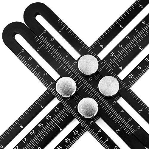 Housolution Messlineal - Multi Winkel Aluminium Angle-Iizer Template Tool, vierseitige Messwerkzeug Winkelsucher Winkelmesser Layout Tool Winkel Herrscher für Handwerker Builders , Schwarz