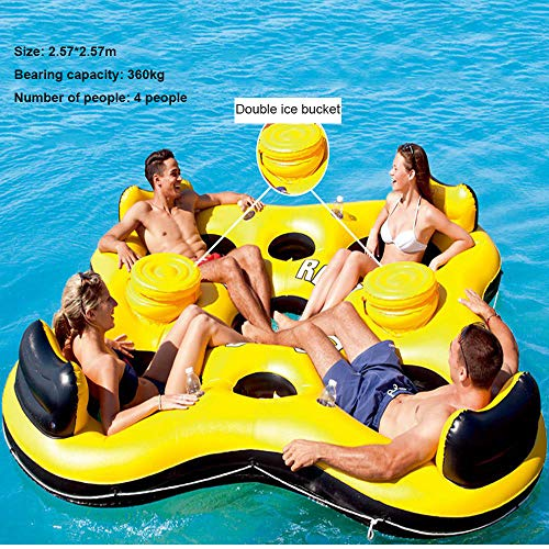 New Ocean Paradise Wasser Lounge Chair Floating Aufblasbare Spielzeuge, Floating Rest Floating Bed Pool Schwimmring, Geeignet Für Familienfest Strandparty - 257 * 257 Cm -